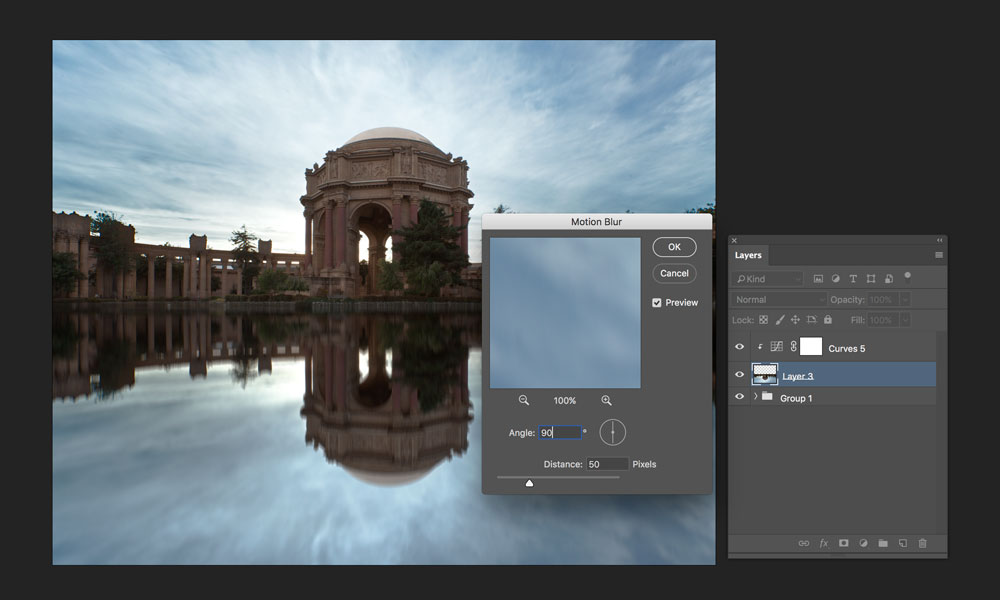 adding motion blur to reflection in photoshop