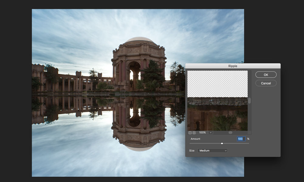 add ripple effect to reflection in photoshop