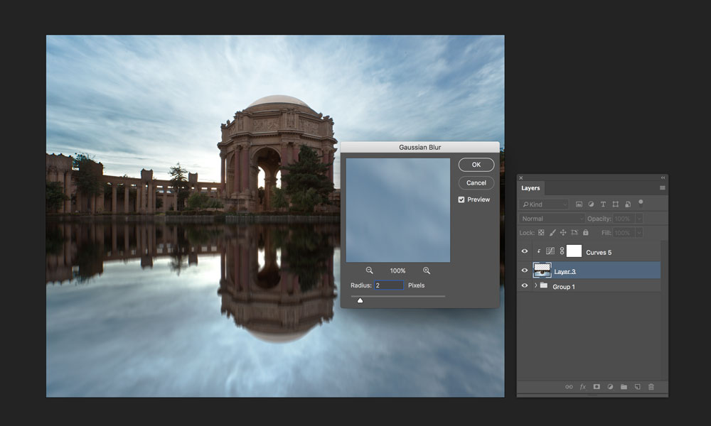 adding gaussian blur to reflection in photoshop