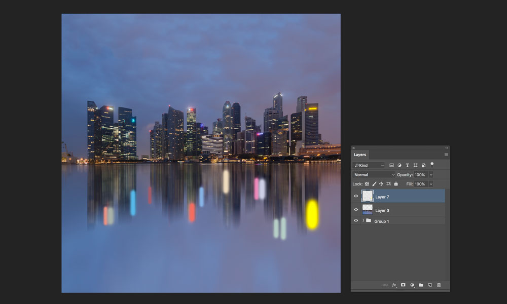 adding light trails to reflection at night in photoshop