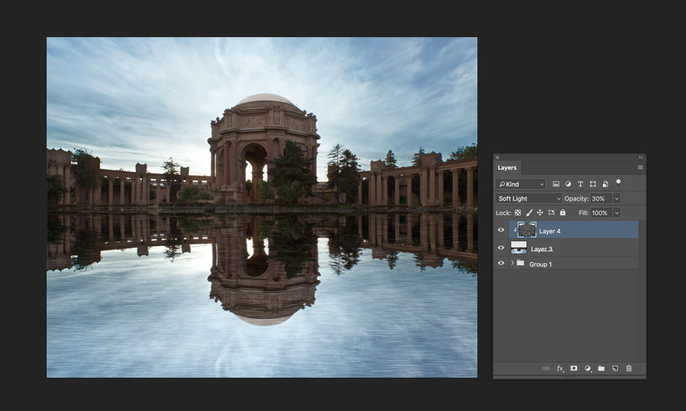 change blend mode to soft light how to create reflection in photoshop