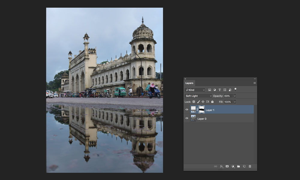 change blend mode to soft light for reflection