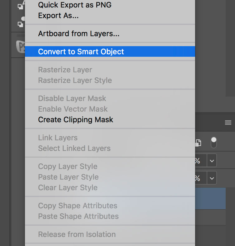 converting reflection layer to smart object