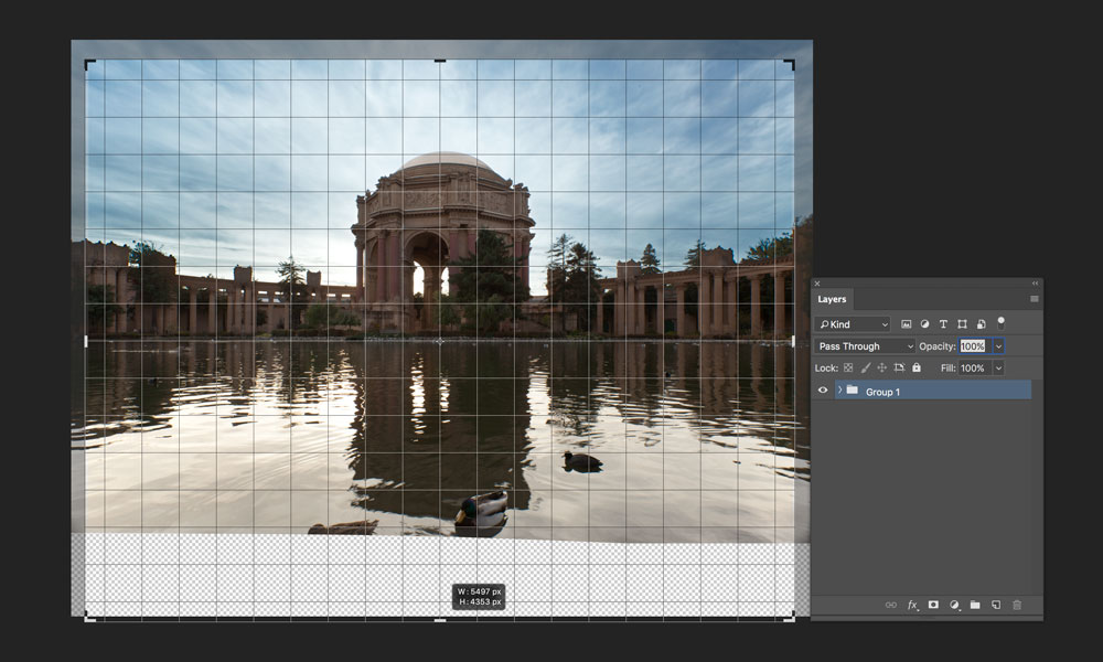 cropping image for reflection in photoshop