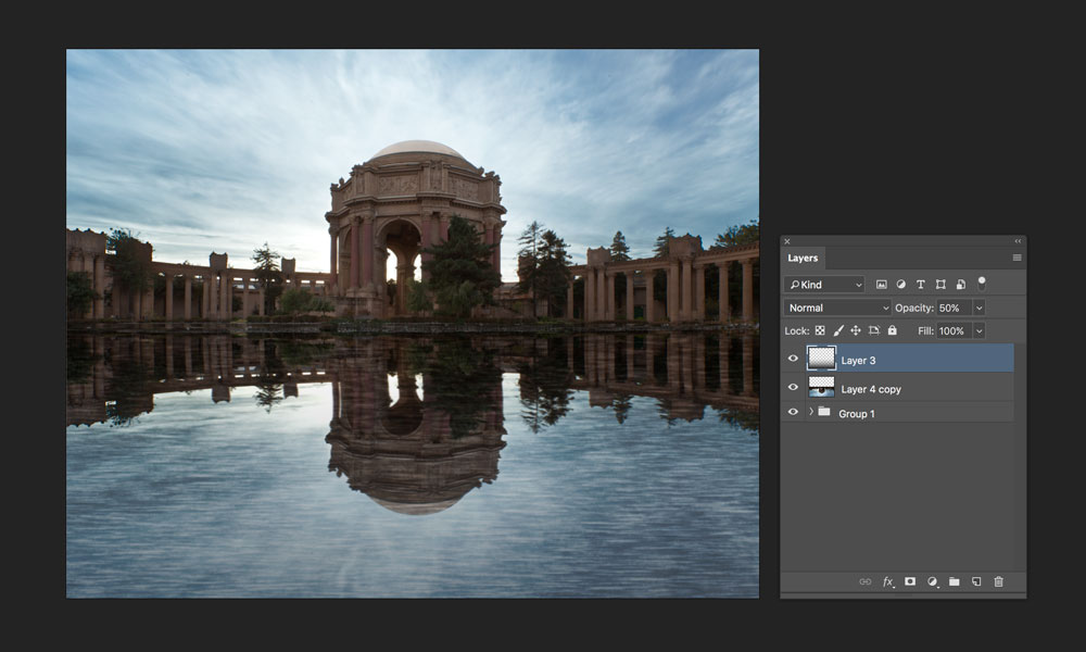 darkening reflection with gradient tool in photoshop