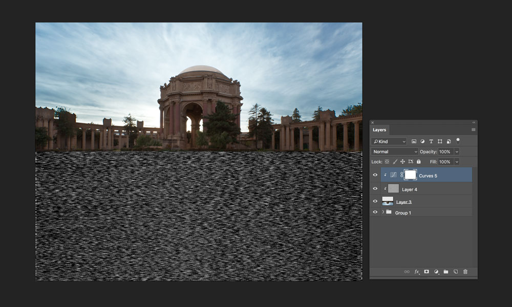 adding motion blur and tonal adjustment to reflection in photoshop