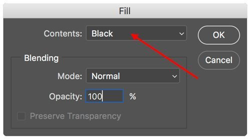 fill layer masks black