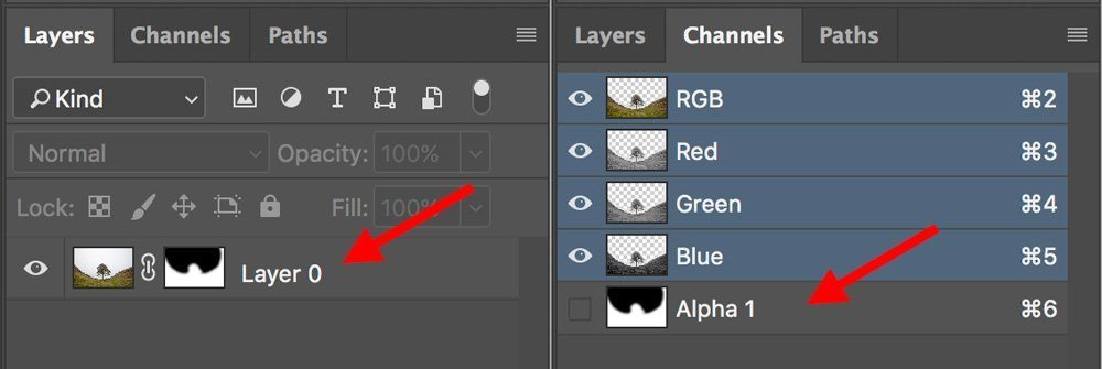 layer mask to alpha channel masking triangle