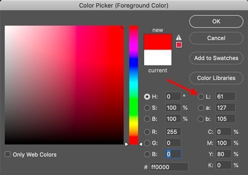 examine lightness with color picker in photoshop